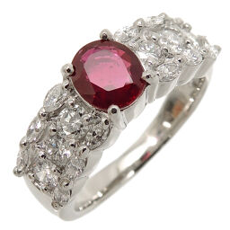 Non Brand Non Brand Pt900 0.735ct Natural Ruby Diamond Pt900 Platinum No. 9.5 Ladies Ring / Ring DH61253 [Used] A rank