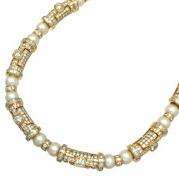 BVLGARI Bvlgari Pearl Diamond 750 Yellow Gold Ladies Necklace DH61914 [Used] A rank