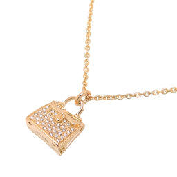 HERMES Hermes 750PG Amulet Kelly Diamond Pendant 750 Pink Gold Ladies Necklace DH62586 [Used] A rank