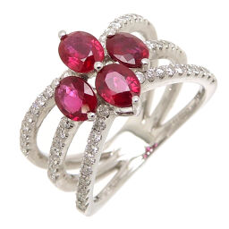 Non Brand Non Brand 750WG 1.67ct 0.44ct Ruby Diamond 750 White Gold No. 12.5 Ladies Ring / Ring DH62616 [Used] A rank