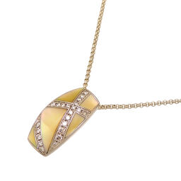 Non Brand Non Brand K18YG 0.14ct Shell Diamond Pendant K18 Yellow Gold x Shell Ladies Necklace DH62618 [Used] A rank