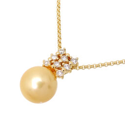 Non Brand Non Brand K18YG 0.33ct Pearl Diamond Pendant K18 Yellow Gold Ladies Necklace DH62621 [Used] A rank