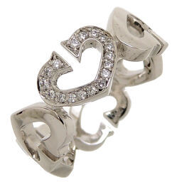 CARTIER Cartier 750WG # 50 C Heart Diamond 750 White Gold No. 10 Ladies Ring / Ring DH62671 [Used] A rank