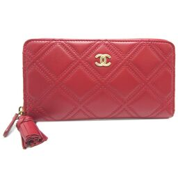 CHANEL W stitch fastener wallet calf ladies long wallet DH62837 [used] A rank
