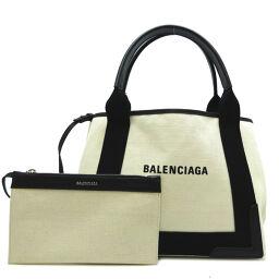 BALENCIAGA 339933 Navy Hippo S * Canvas x leather ladies handbag with pouch DH62927 [Used] AB rank
