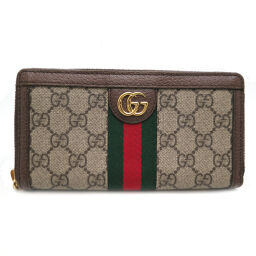 GUCCI Gucci 523154 Ophodia GG zipper wallet GG Supreme canvas x leather ladies long wallet DH63339 [Used] AB rank