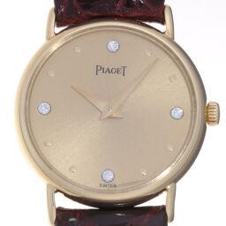 <html>    <body>   PIAGET ピアジェ 40559 ラウンド 4P ダイヤモンド 750イエローゴールド×レザー レディース 腕時計 DH64255【中古】Aランク        </body> </html>