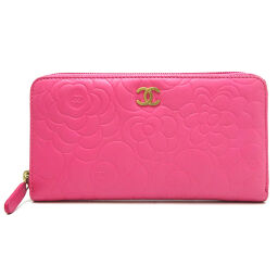 CHANEL A50085 Camellia Round Zipper Wallet Lambskin Ladies Long Wallet DH64308 [Used] A rank