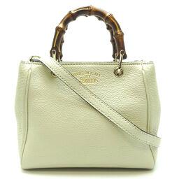 GUCCI Gucci 368823 Bamboo 2Way Bag Leather x Bamboo Ladies Handbag DH64310 [Used] A rank