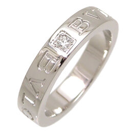 BVLGARI Bvlgari 750WG Double Logo Diamond 750 White Gold No. 11 Ladies Ring / Ring DH64326 [Used] A rank