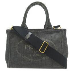 PRADA Prada 1BG439 Kanapat Tote Bag Denim Ladies Handbag DH64369 [Used] AB Rank