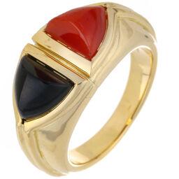 BVLGARI Bvlgari Coral Onyx 750 Yellow Gold No. 9.5 Ladies Ring / Ring DH65078 [Used] A rank