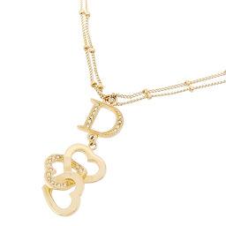 Christian Dior Heart Logo Rhinestone GP Ladies Necklace DH65138 [Used] A rank