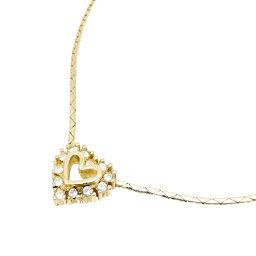 Christian Dior Heart Rhinestone GP Ladies Necklace DH65140 [Used] A rank