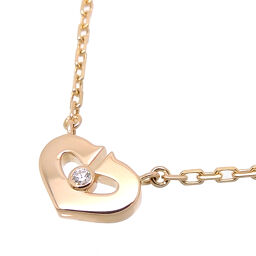 CARTIER Cartier 750PG C Heart Diamond 750 Pink Gold Ladies Necklace DH65153 [Used] A rank