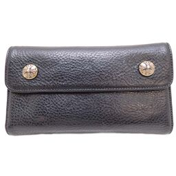 CHROME HEARTS Chrome Hearts Wave Cross Button Wallet Leather x Silver 925 Men's Wallet DH65172 [Used] A rank