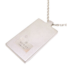 GUCCI Gucci SV925 Plate Logo Pendant Silver 925 Women's Men's Necklace DH65208 [Used] AB Rank