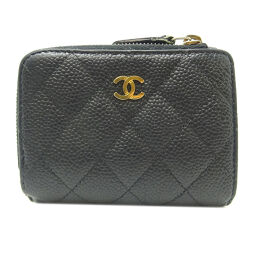 CHANEL Compact Wallet Caviar Skin Ladies Tri-Fold Wallet DH65252 [Used]