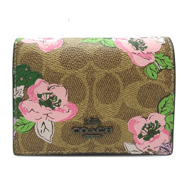 COACH Coach 89310 Small Snap Wallet Blossom Print PVC Coated Canvas x Leather Ladies Bi-Fold Wallet DH65543 [Used] A Rank