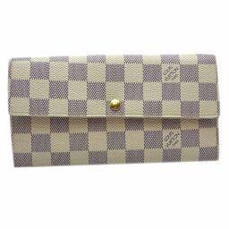 LOUIS VUITTON Louis Vuitton N61735 (discontinued) Portofeuil Sara Damier Azur Canvas Ladies Long Wallet DH65809 [Used]