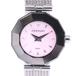 CENTURY Century Time Gem TIME GEM Stainless Steel Silver Quartz Ladies Pink Shell Dial Watch [Pre] A rank