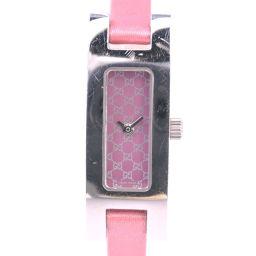 GUCCI グッチ 3900L ステンレススチール×サテン シルバー クオーツ レディース ピンク文字盤 腕時計【中古】