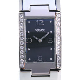 VERSACE Versace Diamond Bezel Bangle Watch CSQ 99 Stainless Steel Silver Quartz Women's Black Dial Watch [Pre] A rank