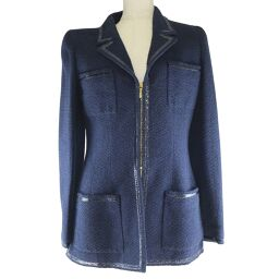 CHANEL PO4864VO4023 Cotton x Wool Navy Women's Tailored Jacket [Used] A rank