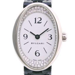 BVLGARI ブルガリ オーバル ダイヤベゼル OVW27G K18ホワイトゴールド×レザー クオーツ レディース 白文字盤 腕時計  【中古】A+ランク