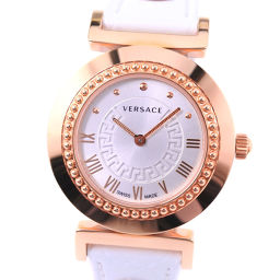 VERSACE Versace Vanity P5Q Stainless Steel × Leather Gold Quartz Women's Silver Dial Watch [Pre] A-rank