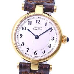 CARTIER カルティエ マスト ヴァンドーム 590004 シルバー925×レザー ゴールド クオーツ レディース シルバー文字盤 腕時計  【中古】