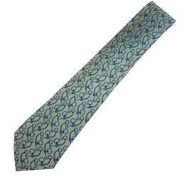HERMES Hermes Silk Green Men's Tie [Used] S Rank