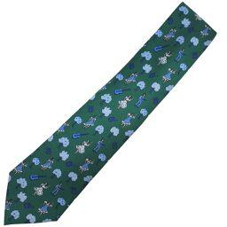 HERMES Hermes Dance Silk Green Men's Tie [Used] S Rank