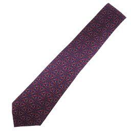 HERMES Hermes Silk Purple Men's Tie [Used] S Rank