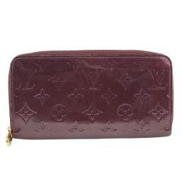 LOUIS VUITTON Louis Vuitton Zippy Wallet Round Zipper M93575 Monogram Verni Violet Red SP4142 Engraved Unisex Wallet [Used]