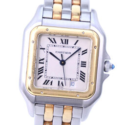 CARTIER Cartier Panther MM 2 low W25028B6 K18 yellow gold × stainless steel quartz women's beige dial watch [pre]