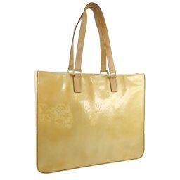LOUIS VUITTON Louis Vuitton Columbus M91023 Monogram Verni Beige LM0041 Engraved Ladies Tote Bag [Used] B-Rank