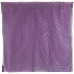 LOUIS VUITTON Louis Vuitton Monogram Pattern Cotton Purple Ladies Scarf [Used] A rank