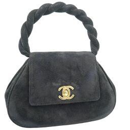 CHANEL Mini Vintage A08069X01036 Suede Black Ladies Handbag [Used] A-Rank