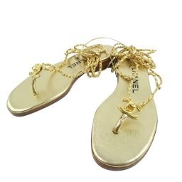 CHANEL Chanel Chain A06379.10 Calf Gold 96P Engraved Women's Sandals [Used] S Rank