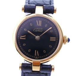 CARTIER カルティエ マストヴァンドーム 590004 シルバー925×レザー ゴールド クオーツ レディース 黒文字盤 腕時計【中古】