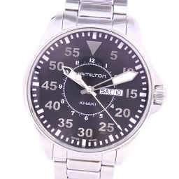 HAMILTON Hamilton Day Date H64611135 Stainless Steel Silver Quartz Men's Black Dial Watch [Pre] A-rank