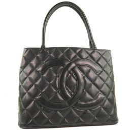 CHANEL Reprint Tote Matte Caviar Skin Black Ladies Tote Bag [Used]