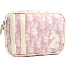 Dior クリスチャンディオール No.2 トロッター PVCコーティングキャンバス ピンク レディース ポーチ【中古】A-ランク