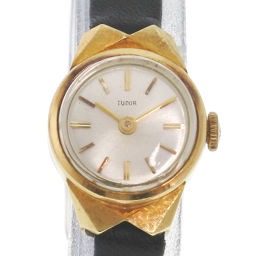 TUDOR Tudor K18 yellow gold × leather gold hand-rolled women's silver face watch [pre]