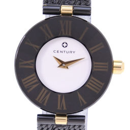 CENTURY Century Time Gem Rome Stainless Steel Gold Quartz Ladies White Dial Watch [Used] A rank