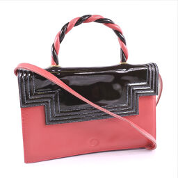 GHERARDINI Geraldini 2WAY shoulder leather × patent leather red / black ladies' handbag [pre-owned] A-rank