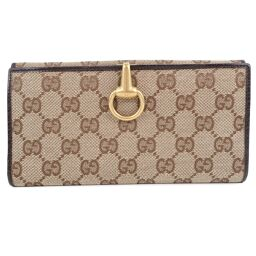GUCCI Gucci Bit Motif 101602 GG Canvas Brown Ladies Long Wallet [Used]