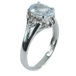 Pt900プラチナ×アクアマリン×ダイヤモンド 11号 1.00刻印 レディース リング・指輪【中古】SAランク