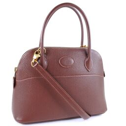 HERMES Hermes Borido 27 2WAY Shoulder Leather Brown □V Engraved Ladies Handbag [Used] A-Rank